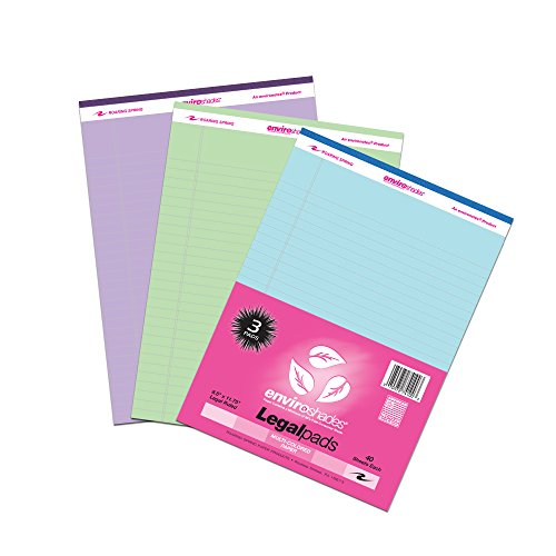 Roaring Spring Enviroshades Recycled Legal Pads, 3 Pack, 8.5' x 11.75' 40 Sheets, Assorted Colors