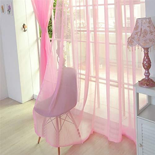 HMG 200x100cm Color Puro Tul Puerta de la Ventana Cortina Cubra cenefas Sheer (Blanco) (Color : Pink)
