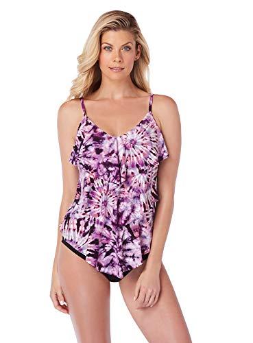 Magicsuit Women's Swimwear Good Vibes Rita V-Neck Tankini Top with Soft Cup Bra and Adjustable Straps, Purple, 16