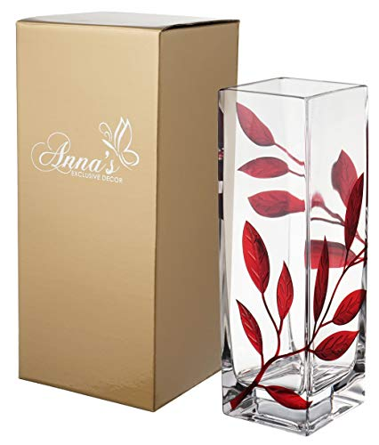 Anna's Exclusive Decor Luxury Hand Blown Glass Vase - Decorated with Sandblasted and Painted Red Leaves - in a Golden Gift Box - Clear Square Vase - Red - 9.7 inch (24 cm)