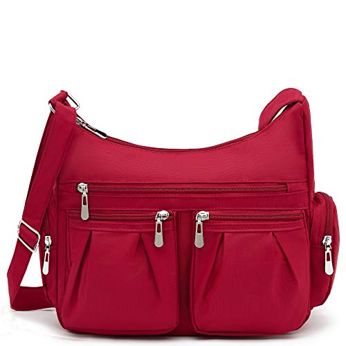 Scarleton Multi Pocket Shoulder Bag, Crossbody H140720 -Burgundy Red-Purple