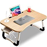 STIMULATE Laptop Lap Desk for Bed Fits up to 17″ Laptops with Storage Drawer,Lamp,Cup Holder, Laptop Bed Tray Table, 23.6' Foldable Laptop Desk, Laptop Stand for Working, Writing,Reading and Breakfast