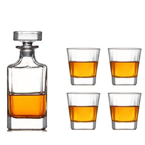 Yousiju Copas de Vino de Cristal sin Plomo Europeas 1 Jarra Cuadrada + 4 Copas de Whisky Colección Juegos de Herramientas de Barra Transparente