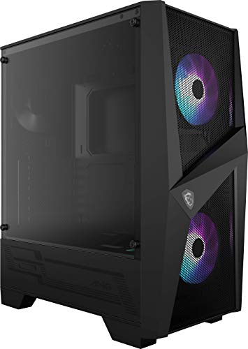 MSI MAG FORGE 100R Mid-Tower - Caja de PC Gaming, 2 x 120 mm ARGB + 1 x 120 mm Ventiladores Incluidos, Panel Cristal Templado, ATX, mATX, Mini-ITX, Negro