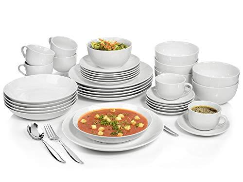 Sänger Geschirrservice New Port aus Porzellan 36 teilig   Geschirrset beinhaltet Speise-, Suppen- und Dessertteller, Tassen mit Untertassen sowie Schalen   Hochwertiges Porzellanservice für 6 Personen