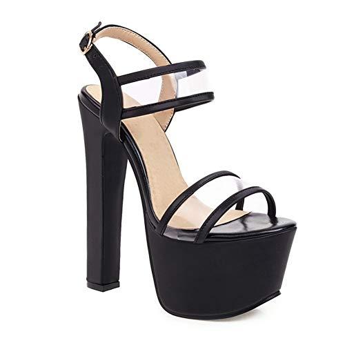 BFDMY Sandalias Mujer Tacón Alto Zapatos de Boda Fiesta Moda Tacón Alto Plataforma Sandalias de Vestir,Negro,44