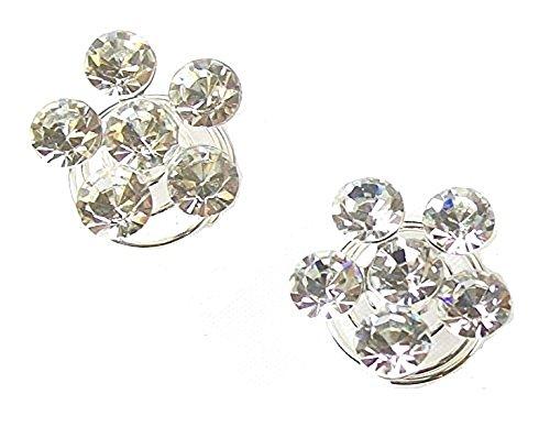 fashionjewellery4u - 2 spille, in argento, per matrimonio, matrimonio, ballo di fine anno, con cristalli argentati, con strass a molla e spirale