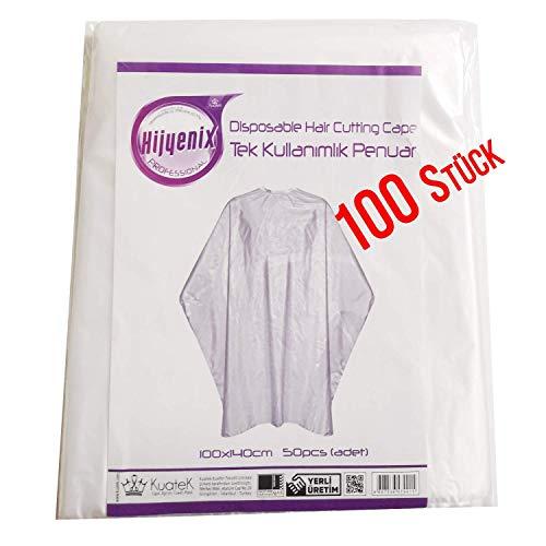 Hijyenix Einwegumhang 2x50=100St. 140x100cm Profi Einweg Umhang Friseur Qualität + 10 Stück Einweghandschuhe