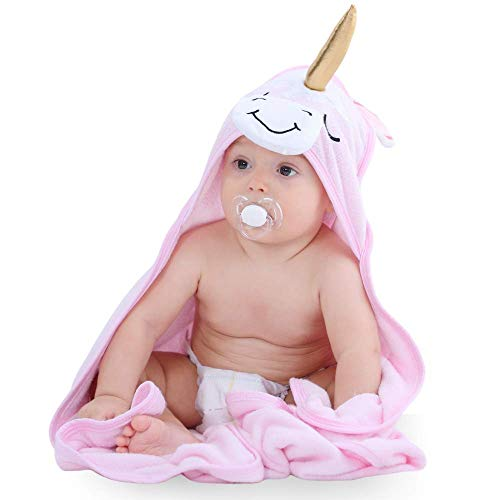 INNObeta Toallas Bebe Capucha para Bebé Ultra Suave y Súper Absorbente Toalla Playa Bebe de Bambú Orgánico Toalla Unicornio Niña | Excelente Regalo para Infantil Recién Nacido Niño o Niña