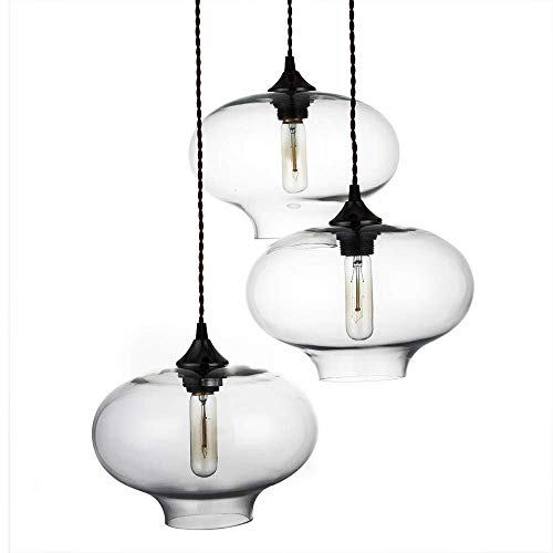 3 lampen hanglamp kroonluchter met glazen kap, plafondlamp met E27 E26 Lamp Houder voor slaapkamer Restaurant Bar.