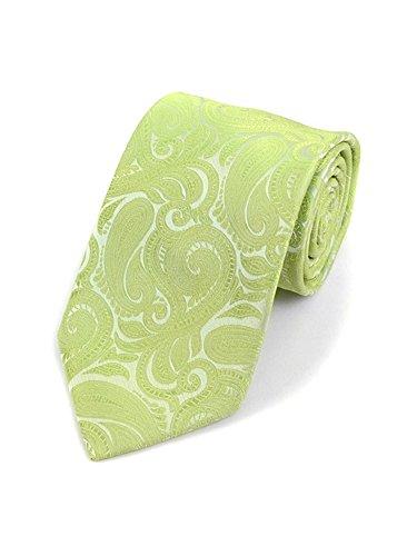 Men's Lime Paisley 100% Microfiber Poly Woven Wedding Neck Tie