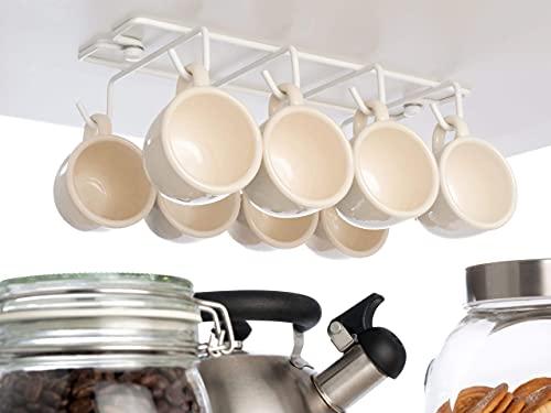 Vardesign Colgador para Tazas 8 Ganchos Soporte Bajo Balda de Mueble y Armario de Cocina Sujeción por Tornillos Blanco