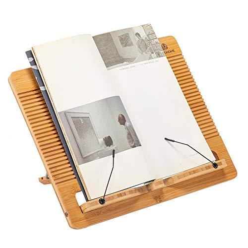 ブックスタンド 書見台 折りたたみ式 5段階25°-70°角度調整 読書台 レシピ台 軽くて持ち運びやすい PC台 タブレット・iPad台 譜面台 ブックホルダー データホルダー 筆記台 天然竹製 書見台 (35*27cm)