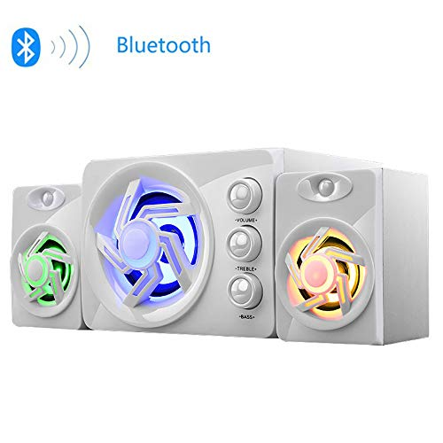 For Sale! MUYIER USB Computer Speaker, 2.1 Mini Speaker Adjustable Treble Bass Built-in Seven-Color ...