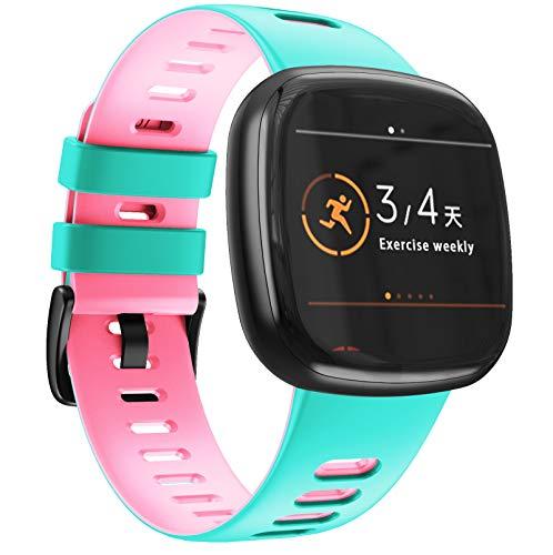 NotoCity Armband Kompatibel mit Fitbit Versa 3 /Fitbit Sense Weiches Silikon Ersatzarmband für Damen und Herren, Fitbit Versa 3 Armband Fitbit Versa Sense Ersatzarmband(Mint-blau,L)