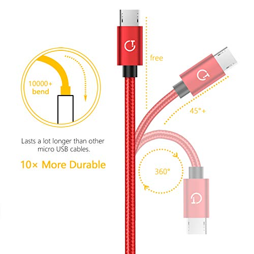 Gritin Micro USB Kabel, [3 Pack 1M+1.5M+2M] Nylon Micro USB Ladekabel Schnellladekabel Stabil & Beständig für Android, Galaxy, HTC, Sony, Nexus - Rot