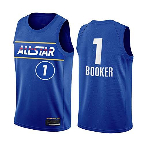 PQMW 2021 All-Star Booker Jersey, Durant Team Suns # 1 Booker Basketball Jersey para Hombres, Swingman Juvenil Transpirable y Resistente a los Desgaste. XXL(95~110KG)