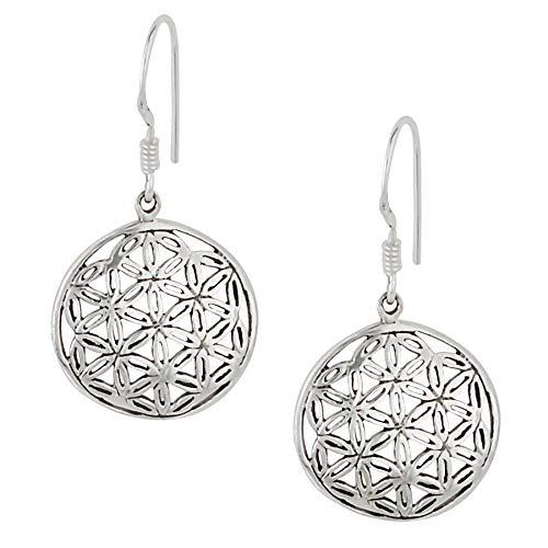 Silverly Pendientes Mujeres Plata de Ley .925 Flor de la Vida Sagrada Geométrica Redonda Colgantes