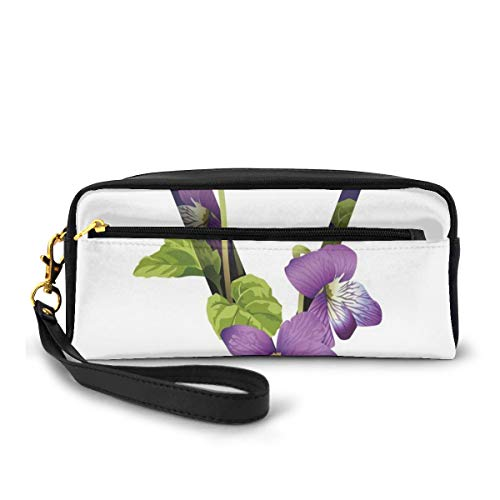 Pencil Case Pen Bag Pouch Stationary,Viola Sororia Wildflowers On The V Natural Arrangement Floral Initial,Small Makeup Bag Coin Purse