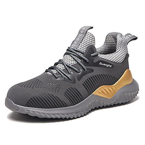 YUANB Zapatos de Seguridad de la Superficie de Cuero, Zapatos Protectores, Gorras de Punta de Acero, Zapatillas de Deporte Anti-punción Anti-aplastables Disponibles en Tod grey-45