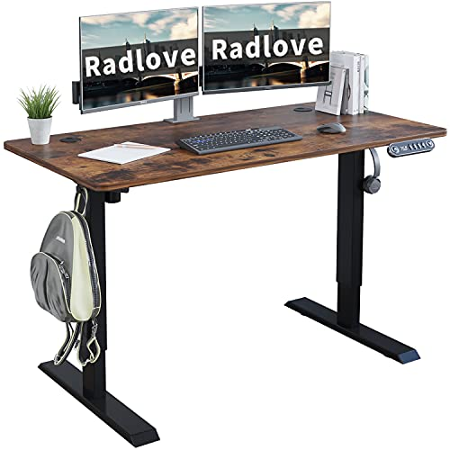 Electric Standing Desk 48 x 24 Inches, Radlove Height Adjustable Computer Desk Sit Stand Desk Home Office Desks with Splice Board and A Under Desk Cable Management Tray, Rustic Brown Top/Black Frame
