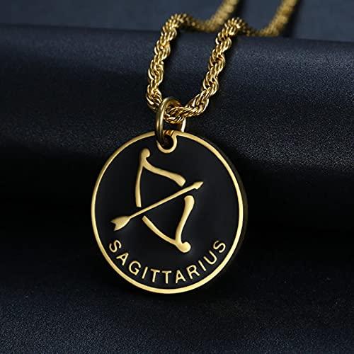 CXWK 12 Constellations Zodiac Sign Gold Pendant Necklace Aries Leo Men Women Jewelry