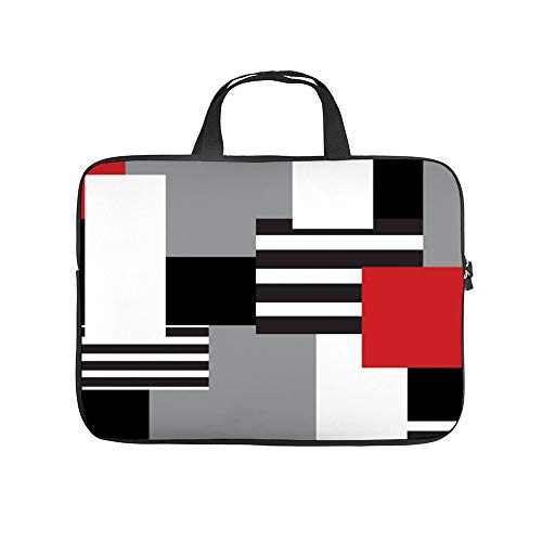 Modern Patchwork Red Black Gray White 10InchLaptopSleeveCaseProtectiveCoverCarryingBagfor9.7'10.5'IpadProAir/10'MicrosoftSurfaceGo/10.5'SamsungGalaxyTab