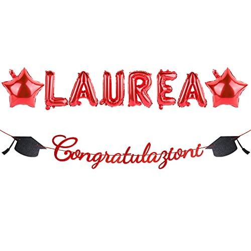 BETESSIN Palloncini Laurea Festone Congratulazioni Striscione Carta Rossa Laurea Gadeget Addobbi Decorazioni Festa di Laurea Party Casa