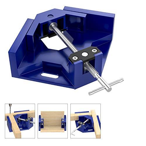 Housolution Rechtwinklige Klemme, 90 Grad Aluminiumlegierung Ecke Klemme mit Handgriff, Verstellbar Schwingend Klemmbacke Winkelspanner für Holzbearbeitung Bilderrahmen Schraubstock Halter - Blau