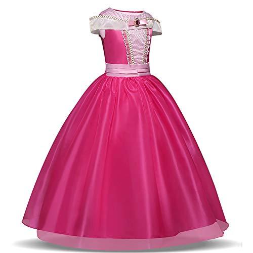 Disfraz de princesa de las niñas Cosplay de la bella durmiente (rosa, 3-10 años)(140CM)