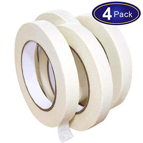 White Masking Tape 4 Pack, General Purpose Beige Painter's Tape 0.7inch x 60yard, 240 Yard In Total, For Painting, Labeling, Packing, Craft, Art, etc.