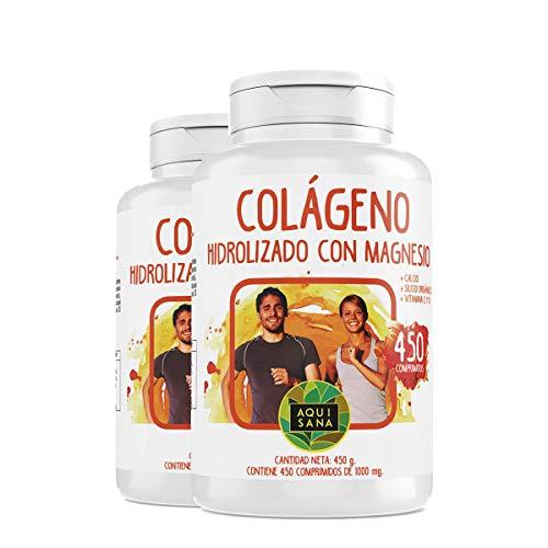 Gehydrolyseerdcollageen - Aquisanametmagnesium en calcium | Vitamine C | Vitamine D | Perfectvoor de huid en gewrichten (900 COMP)