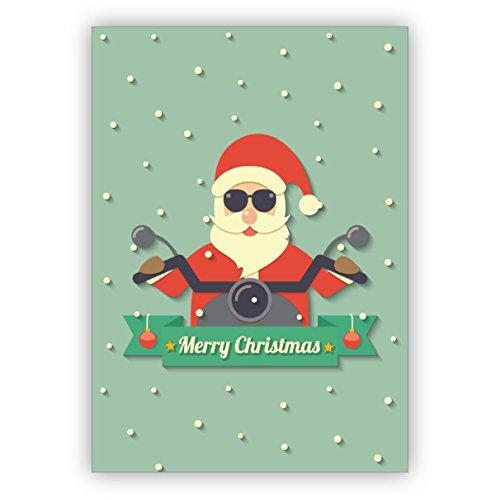 Kartenkaufrausch Coole kerstkaart met kerstkaart op motorfiets, niet alleen voor Rocker: Merry Christmas • als mooie kerstwenskaart voor Nieuwjaar, oudejaarsavond voor familie en bedrijf