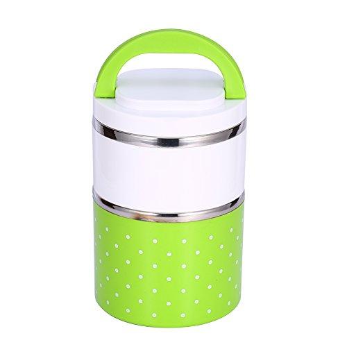 ZJchao Edelstahl Thermo-isolierte Bento Lunch Box, 1–3Schichten Lecksicher Food Container für Kinder, Erwachsene, hält Lebensmittel Warm–fit für Schule, Büro Oder Picknick, grün, 900ML