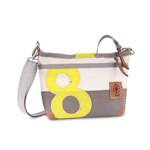 360° Bolsa de lona con diseño de ciervo, color blanco y gris, número amarillo, correa gris, bolso de mano para mujer