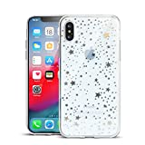 Yunguzi Clouds Compatible iPhone Xs Max Clear Case/iPhone Xs Max Case for Girls Glitter Silver Pattern Soft Flexible Durable Slim TPU Phone Cases for Apple iPhone Xs Max-Star