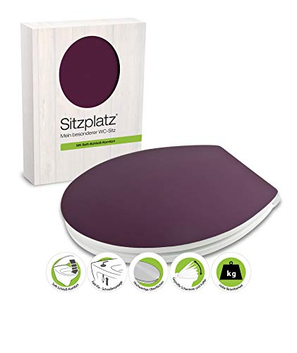 SITZPLATZ® WC-Sitz mit Absenkautomatik, Dekor Disteso, Gloss Toilettensitz mit Holzkern, Fast-Fix Schnellbefestigung, Standard O Form oval, Metallscharnier, Toilettendeckel glänzend, bunt 40338 2