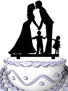 Meijiafei Weddng Cake Topper - Bride and Groom Kissing and Little Boy and Girl Family Anniversary Cake Topper