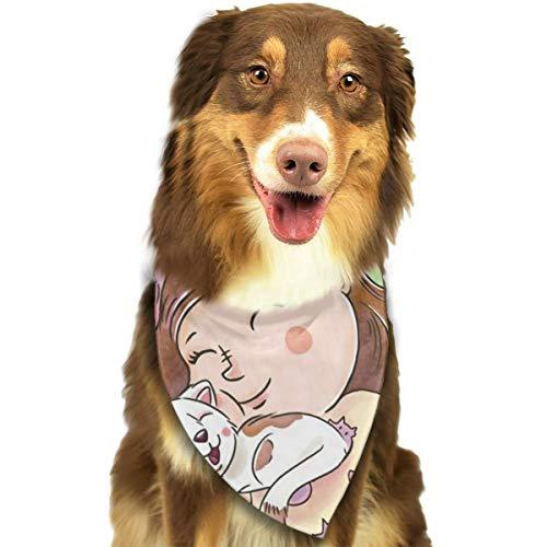 Vector-cute-girl-smiling-knuffeling-a-cat-for-national-cat-day aangepaste hond hoofddoek Heldere gekleurde sjaals schattige driehoek slabbetjes accessoires voor huisdier honden