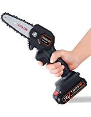 Cordless Electric Chainsaw, Mini Chainsaw 4-Inch, Portable Household Small Handheld Electric Saw, Rechargeable Battery Powered Chainsaw Ideal For Wood Cutting Fruit Tree Pruning an