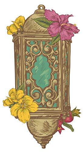 Wandtattoo Orient Wandsticker Orientalische Laterne im antiken Look mit Blumen