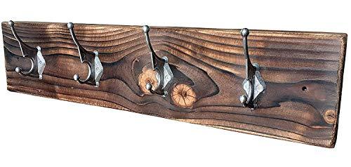 CHYRKA® Wandgarderobe ZBARAZ Garderobenhaken Vintage Garderobenleiste Hakenleiste Retro Loft Massivholz Industrial Design (Natur, 60 cm - 4 Haken)