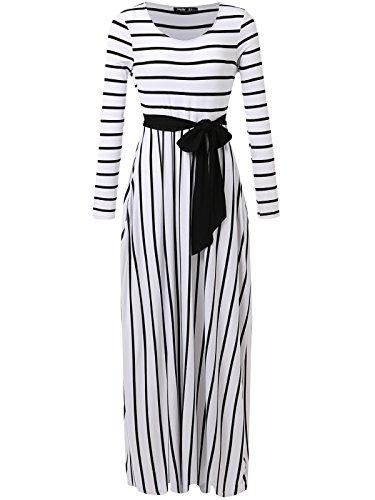 JayJay Women Stripe Print Long Sleeve U-Neck Tie Waist Maxi Casual Dress with Pocket,White,S