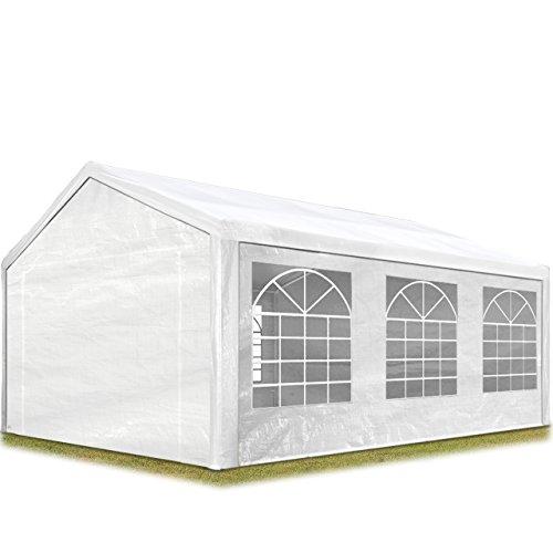 TOOLPORT Partyzelt Pavillon 3x6 m in weiß 180 g/m² PE Plane Wasserdicht UV Schutz Festzelt Gartenzelt