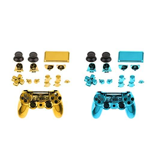 B Baosity Coque Etui Full Shell Cover Kit De Remplacement Pour Sony PS4 Pro Bleu + Or