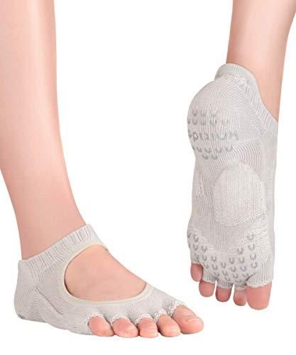 Knitido+ Kasumi, Calcetines de Yoga con dedos abiertos antideslizantes, Talla:35-38, Color:gris (15)