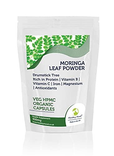 Moringa Leaf Powder Veg HPMC Organic x250 Cápsulas 500mg Baquetas Árbol Rábano Crábano Ben Oil Tree Benzolive Tree