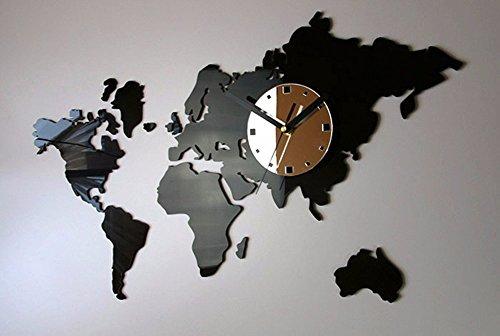 QMPZG-wereldklok kaart, grote wandklok op kantoor, woonkamer moderne en creatieve stickers wandklok