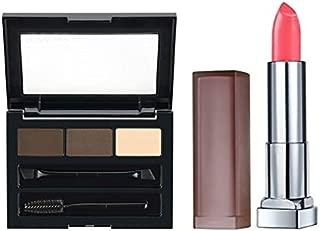 Maybelline Brow Drama Pro Palette - Deep Brown and Color Sensational Creamy Matte Lipstick - Pink Sugar Bundle
