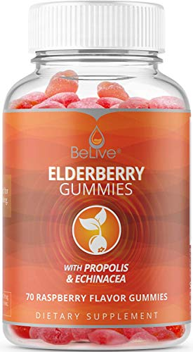 Elderberry Gummies with Vitaminc C, Propolis, Echinacea. Max Strength 200MG - Sambucus Black Elder Immune Support Vitamins Supplement Made for Adults & Kids | Raspberry Flavored. 70 Count